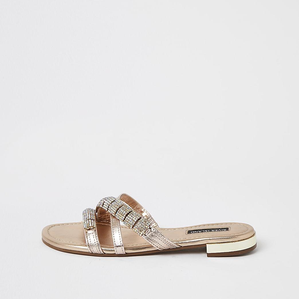 Sandales à lanières ornées en cuir doré