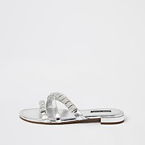 Zilverkleurige leren verfraaide sandalen met bandjes