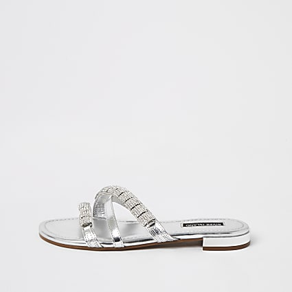 Silver leather embellished strappy sandals