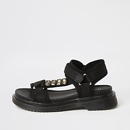 Black strappy gum sole sandals