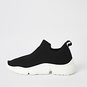 Schwarze Sneaker aus Strick mit geteilter Sohle