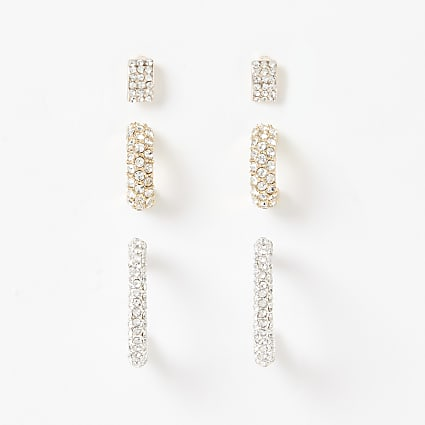 Gold diamante paved hoop earrings 3 pack