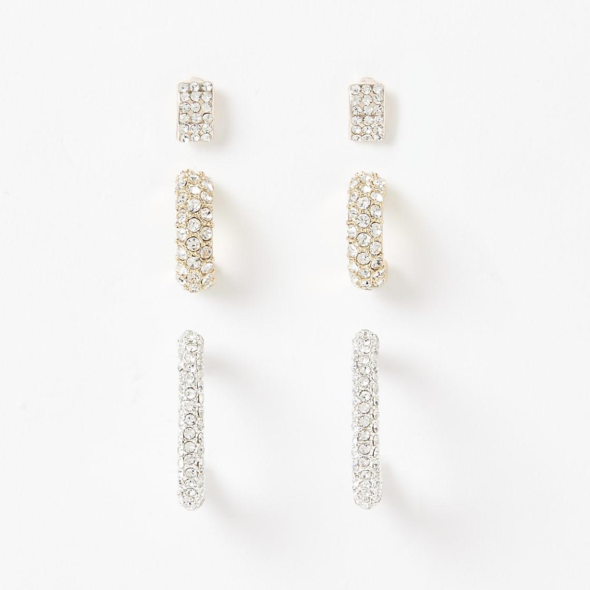 Gold diamante paved hoop earrings 3 pack