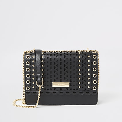Black cutout stud cross body satchel bag