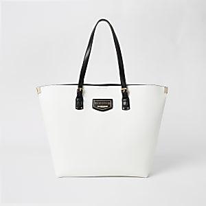 Weiße RI-Shopper-Tasche mit Metallecken