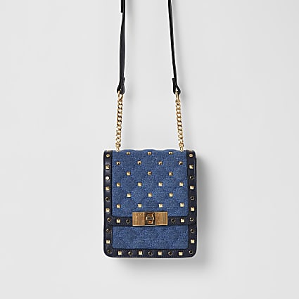 Blue denim studded cross body bag
