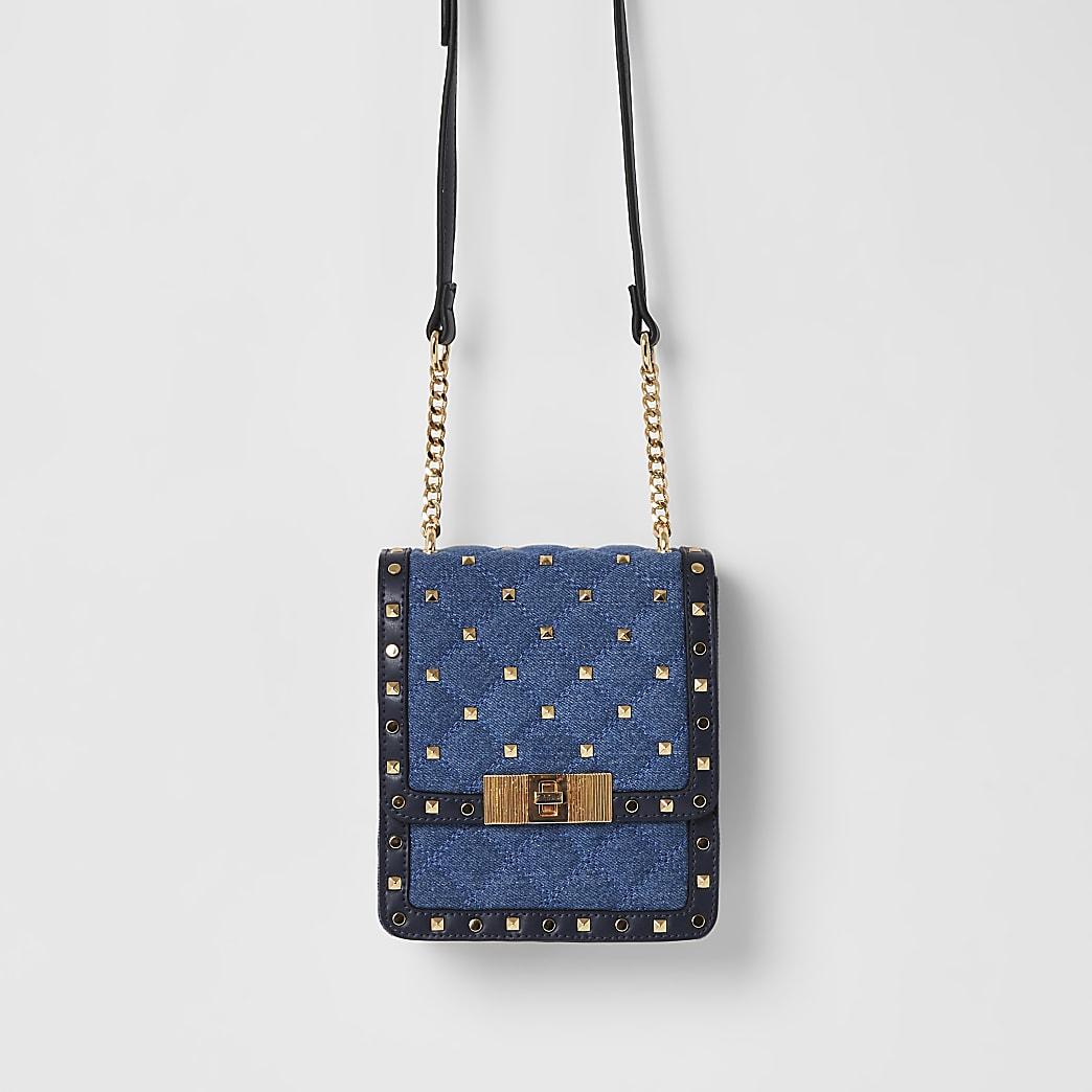 Blauwe denim crossbodytas met studs