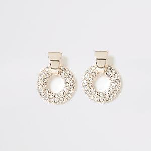 Clous d'oreilles or rose à strass et pendant anneau