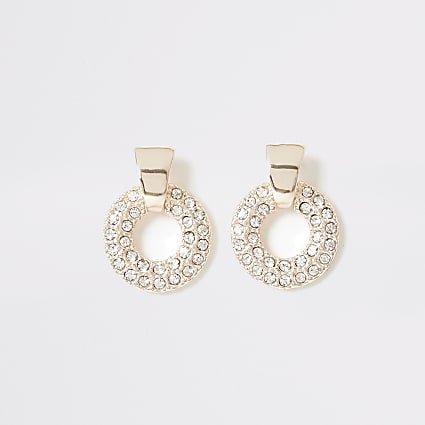 Rose gold colour diamante drop stud earrings