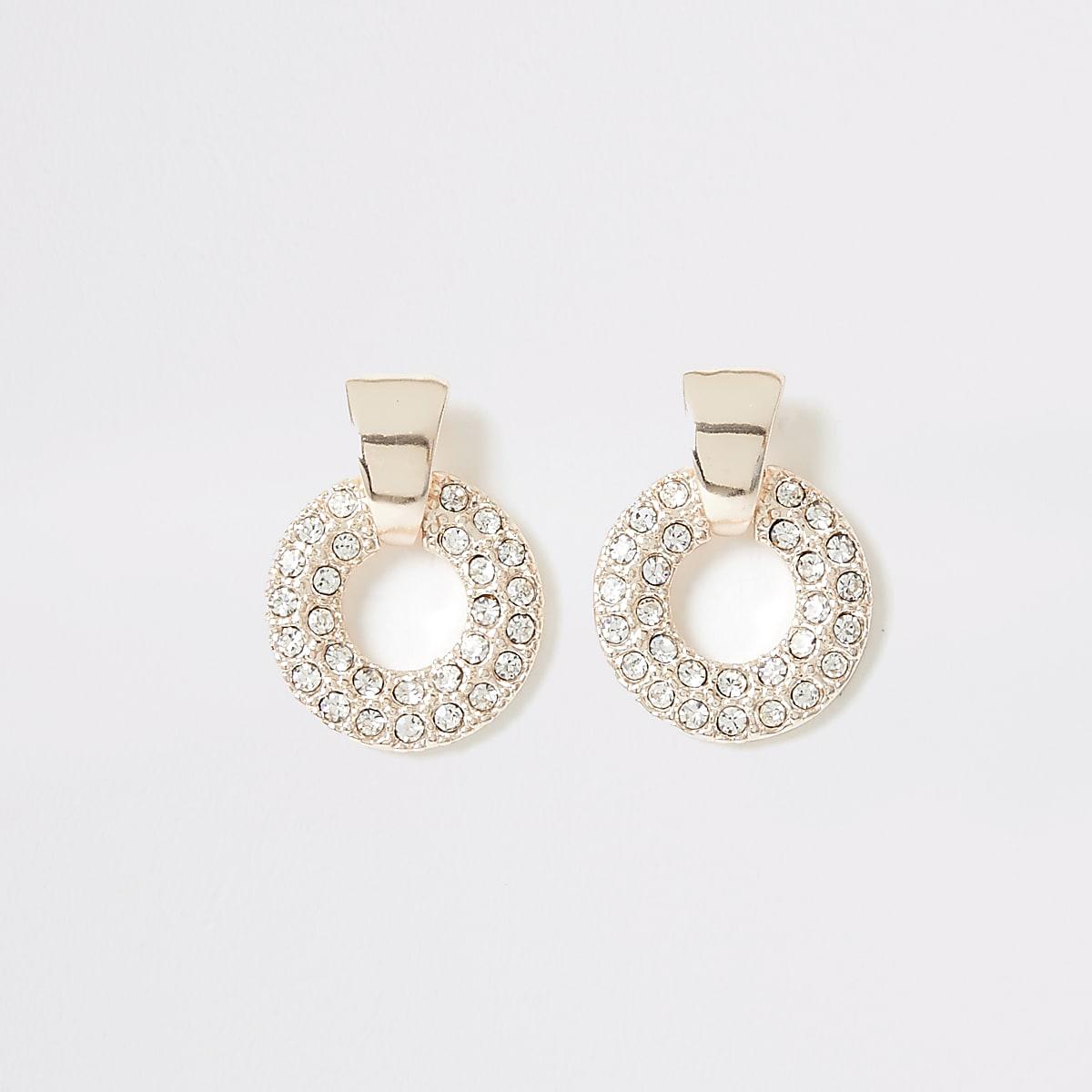 Rose gold diamante ring drop stud earrings