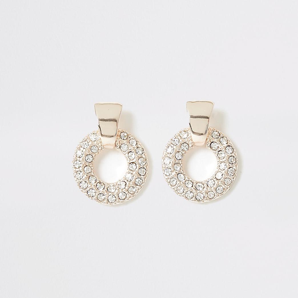 Rose gold colour diamante drop stud earrings