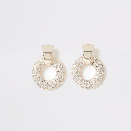 Rose gold diamante ring drop stud earrings