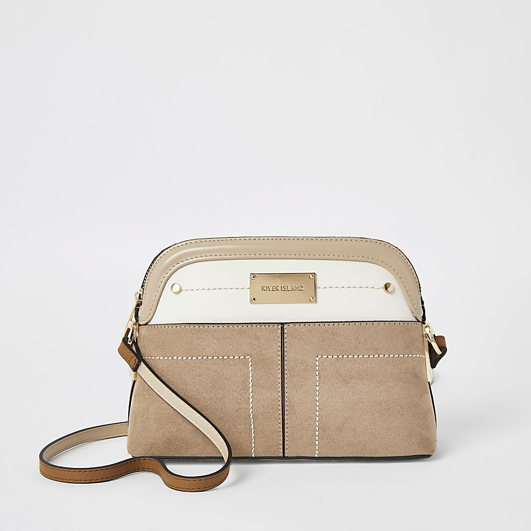 Beige pocket front cross body bag