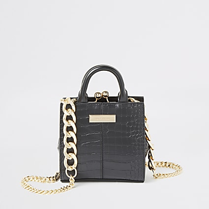 Black croc embossed mini clip top bag