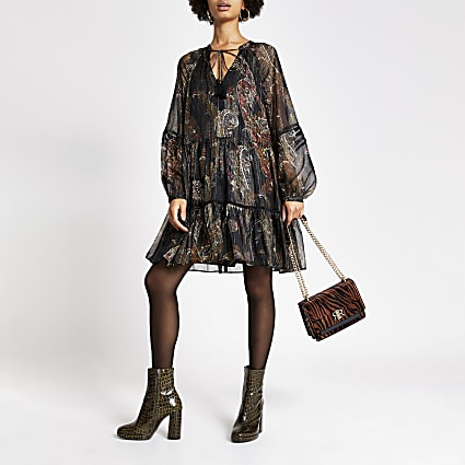 Black printed long sleeve swing dress