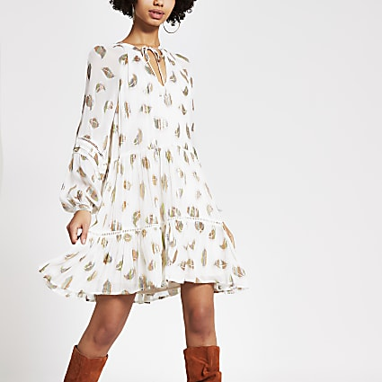 White metallic printed smock mini dress