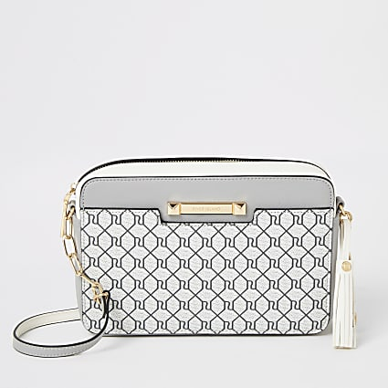 Grey RI monogram boxy cross body bag
