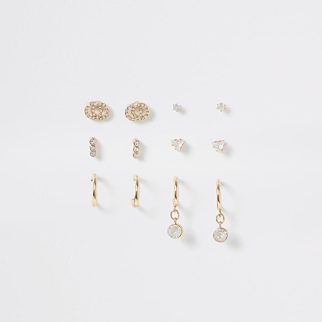 Set van 6 goudkleurige oorknopjes met siersteentjes
