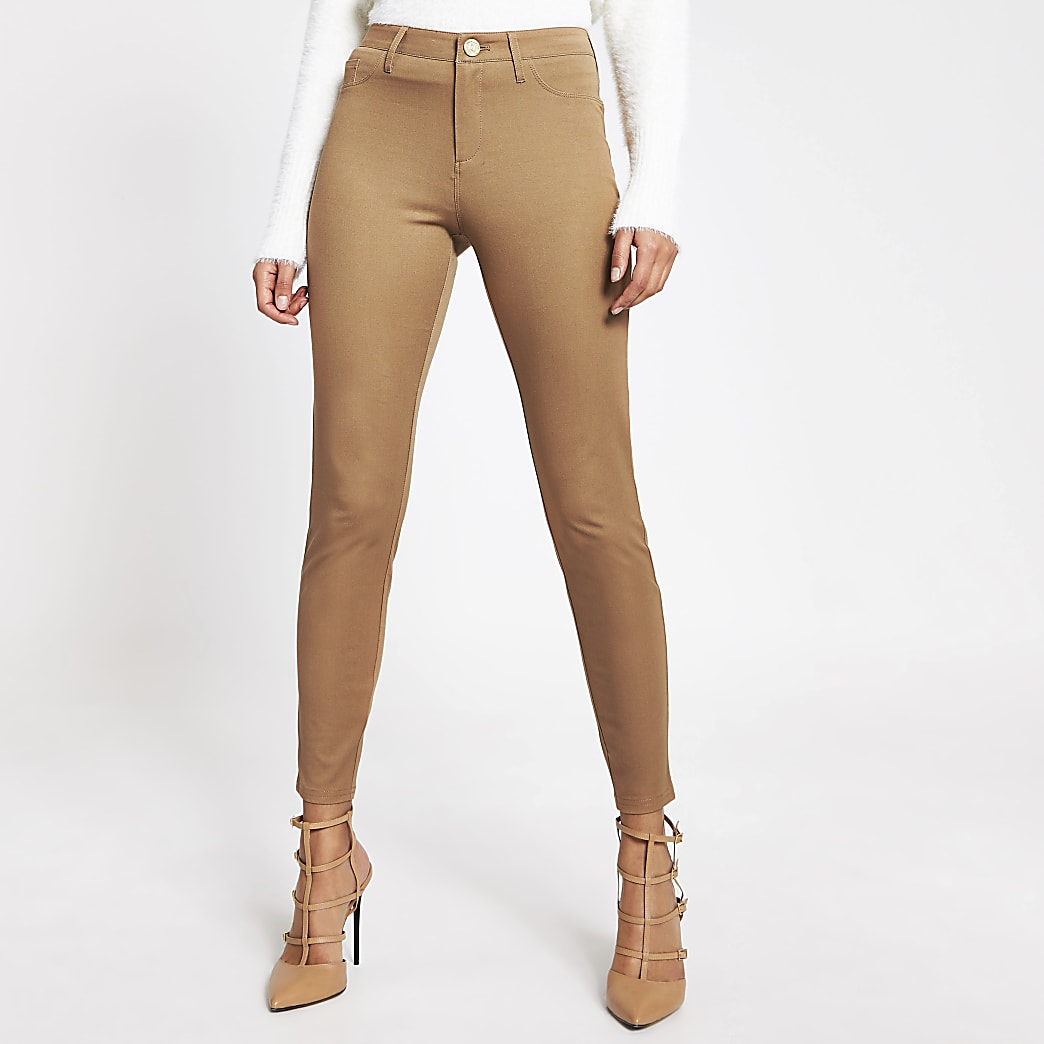 Beige Molly twill skinny trousers