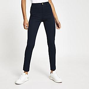 Molly - Marineblauwe skinny broek van keperstof
