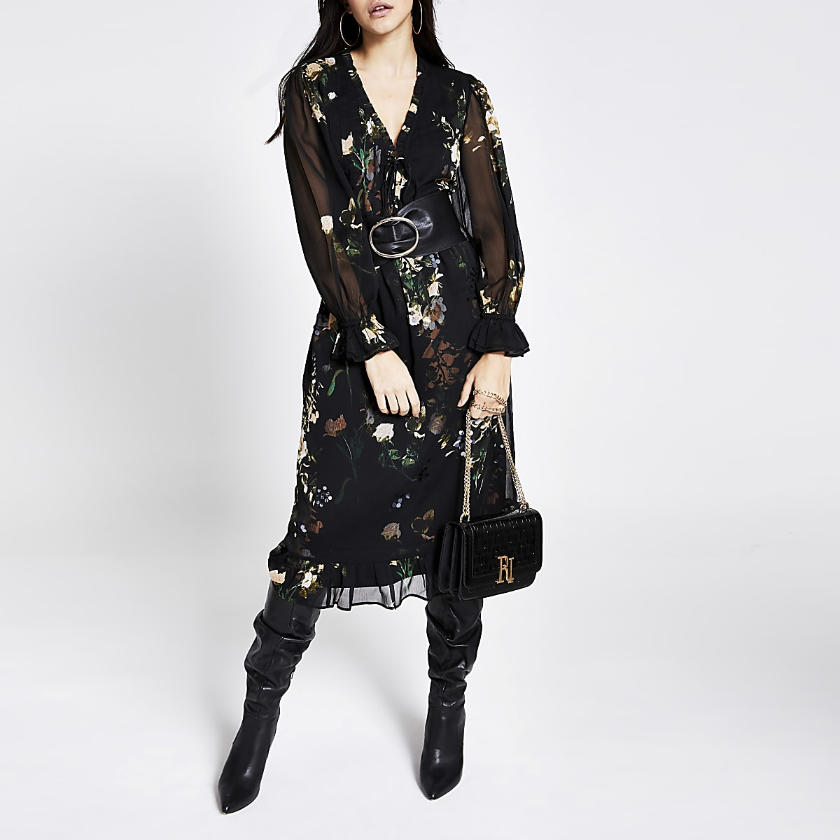 Black printed embellished midi smock dress