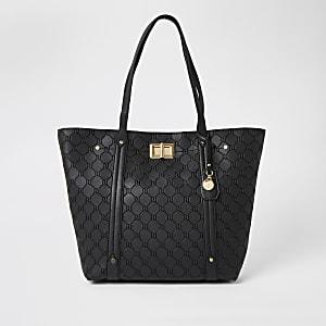 Zwarte RI shopper handtas met reliëf en slotje voorop