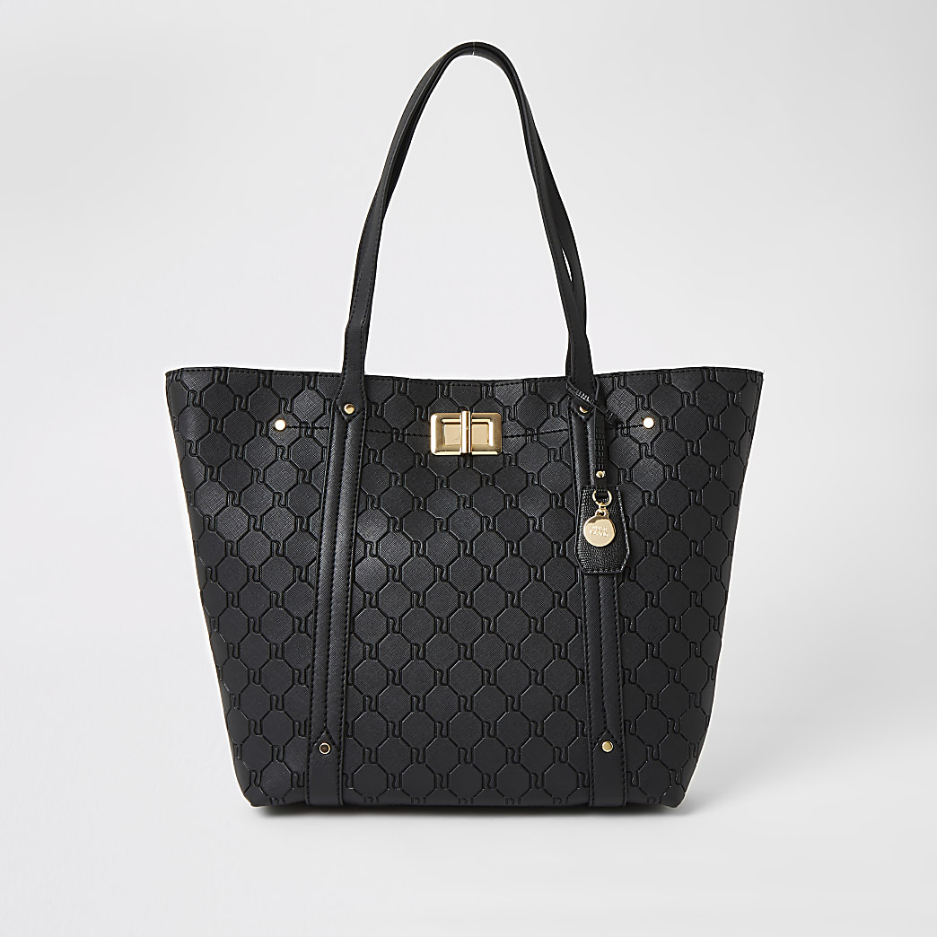 Black RI embossed lock front shopper tote bag