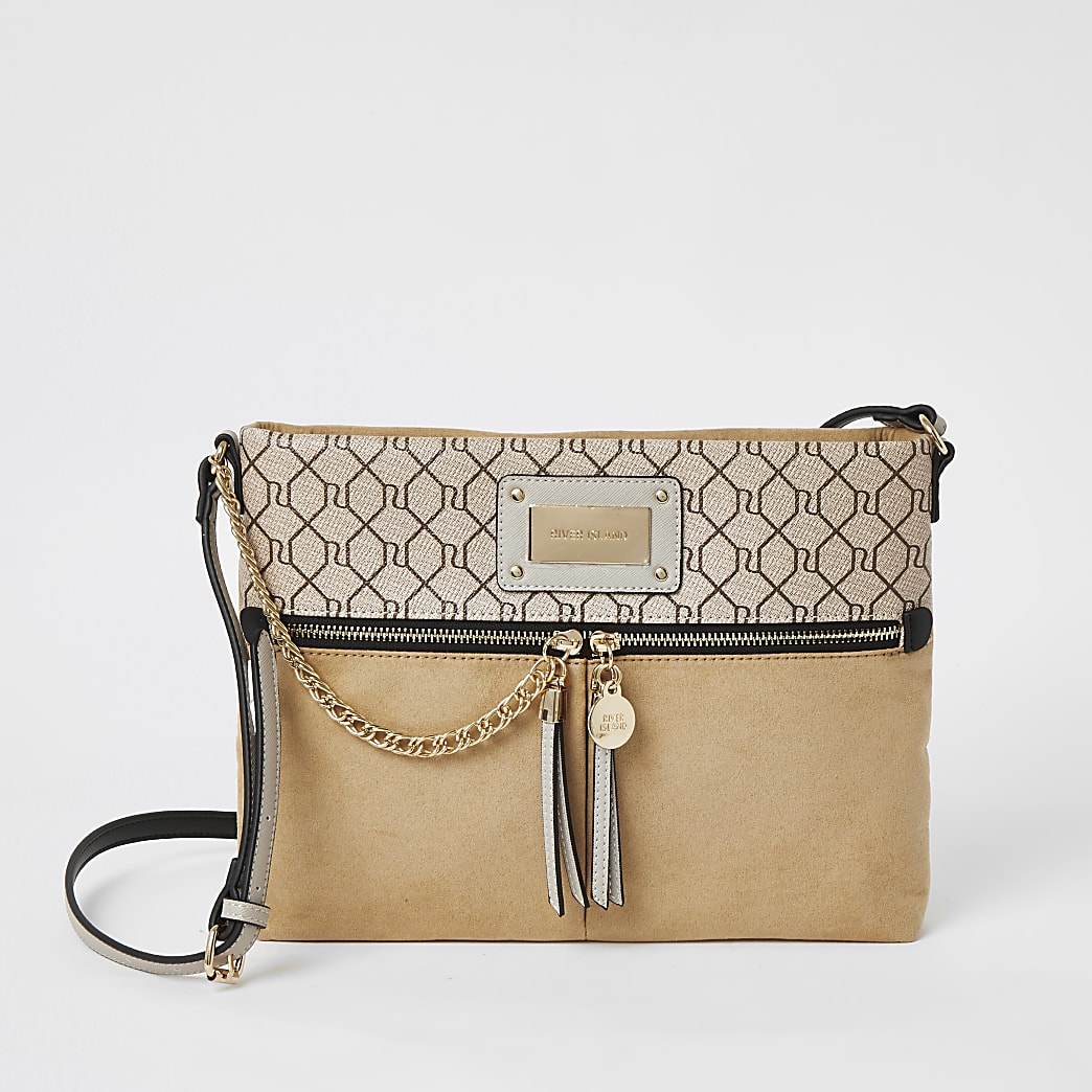Beige RI zip front cross body messenger bag