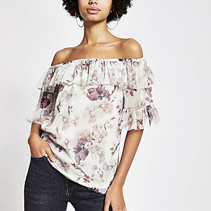 Pink floral ruffle bardot top