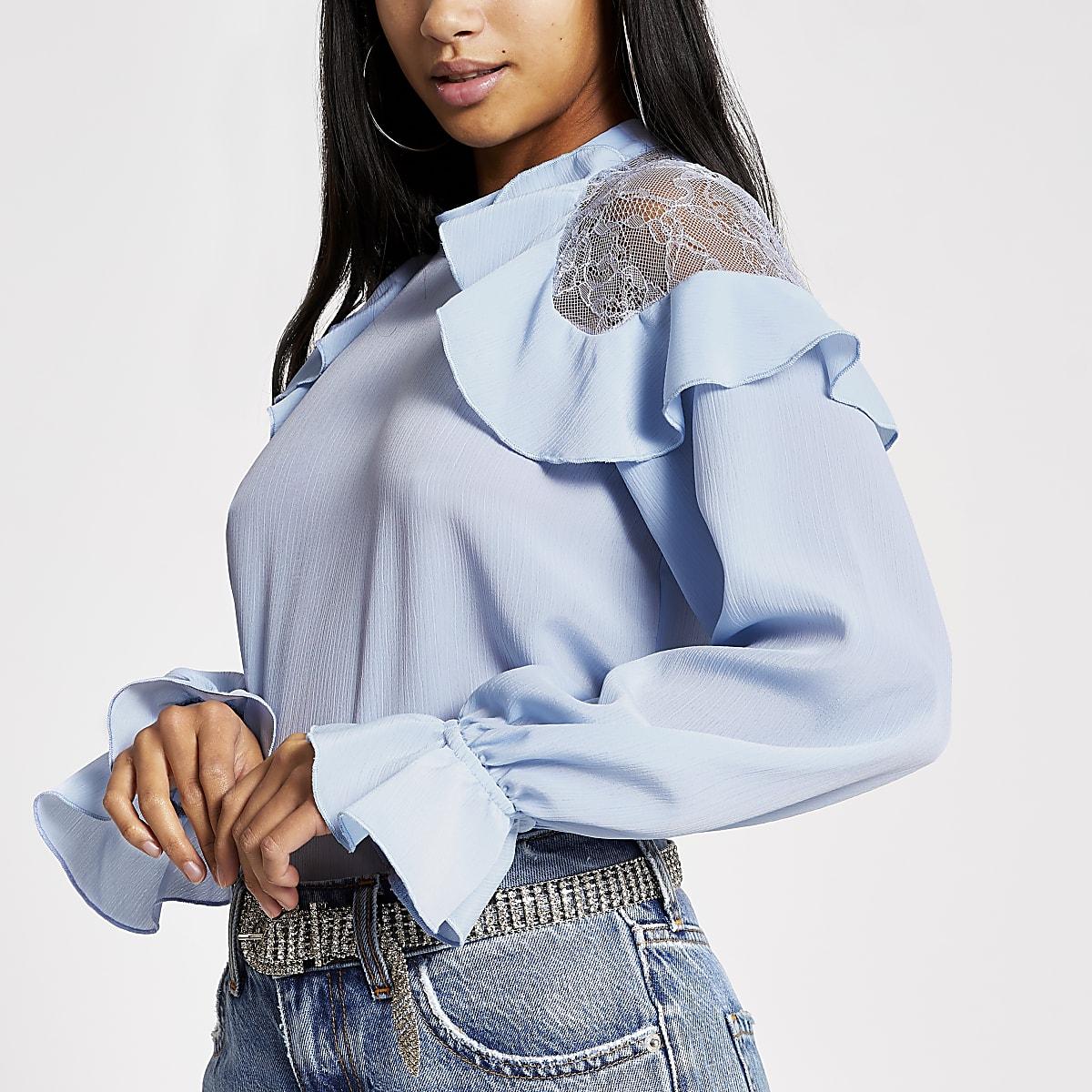 Petite blue lace frill shoulder blouse