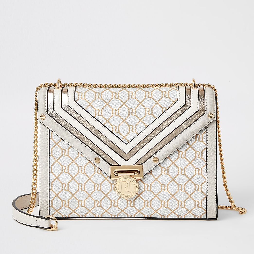 Beige RI monogram quilted cross body bag