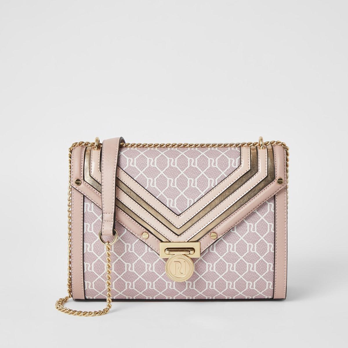 Pink RI monogram cross body bag
