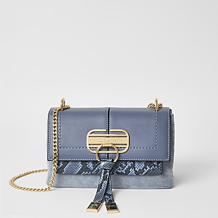 Blue snake printed lock front cross body bag