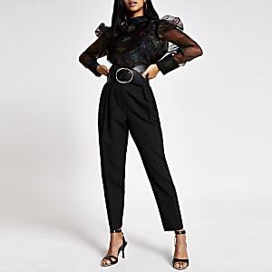 Petite – Schwarze Bluse aus Organza mit Print