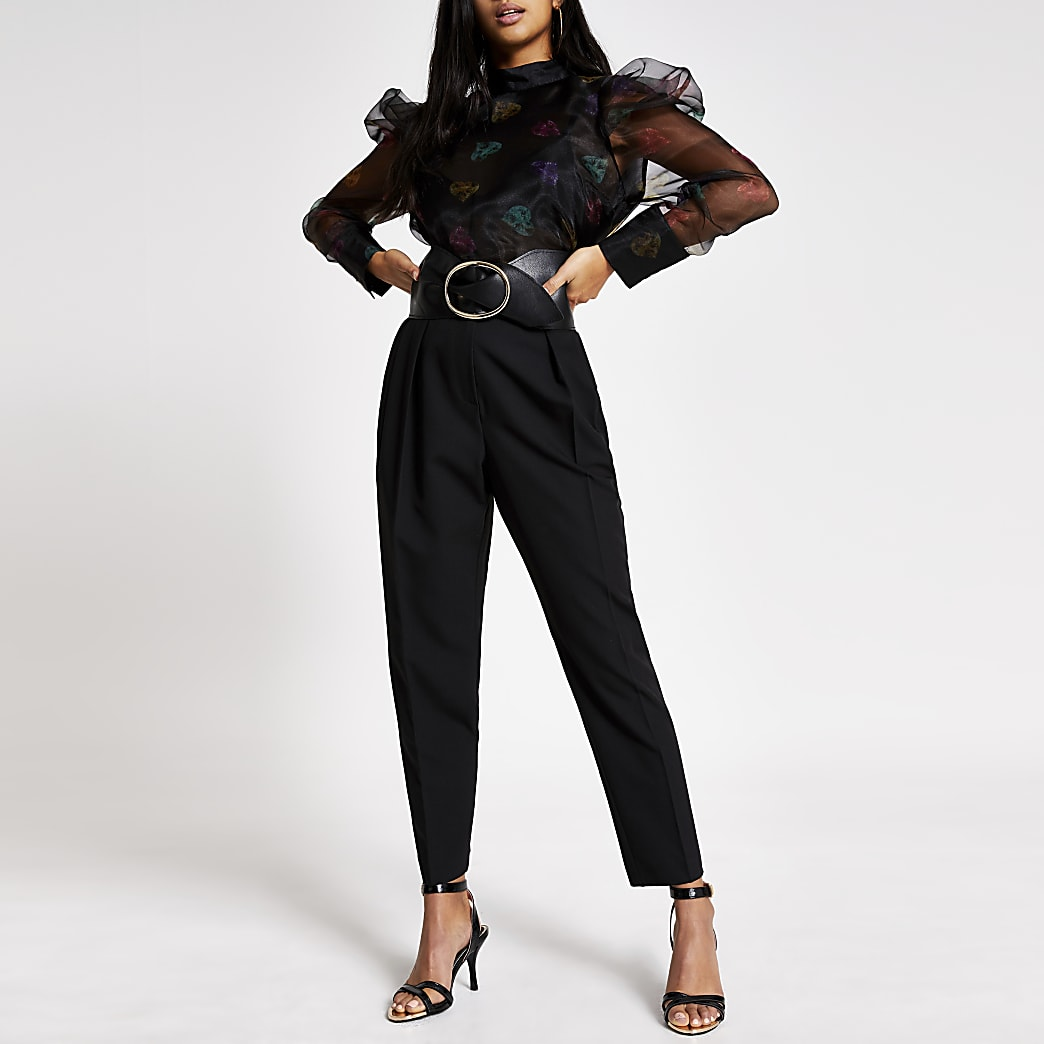 RI Petite - Zwarte organza blouse met print