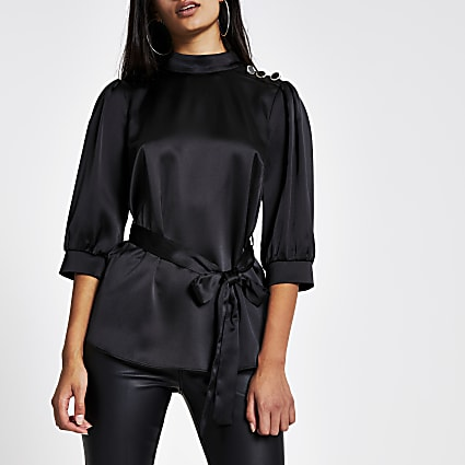 Black satin high neck long sleeve belted top