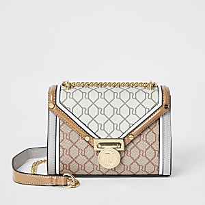 Grijze mini-crossbodytas met RI-monogram
