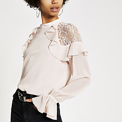 Light pink long sleeve lace frill top