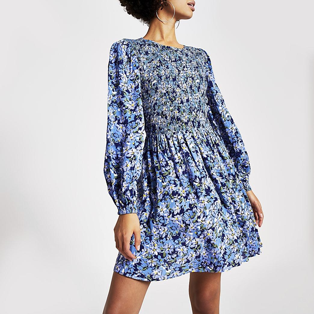 Blauwe shirred mini-jurk met bloemenprint en lange mouwen