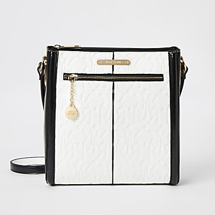 White RI embossed messenger cross body bag