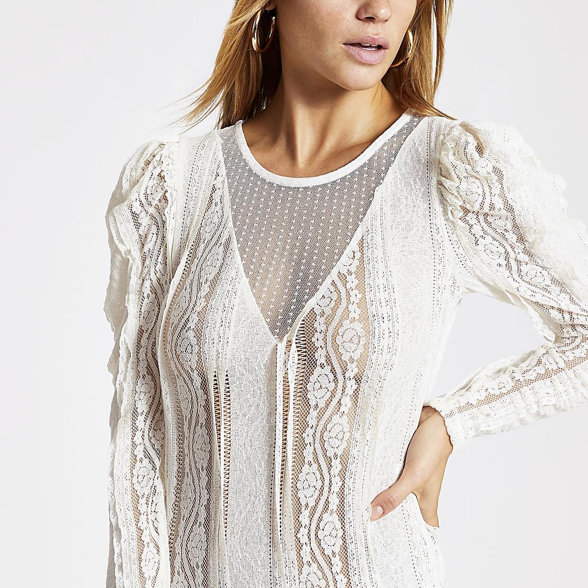 Cream sheer lace long sleeve bodysuit