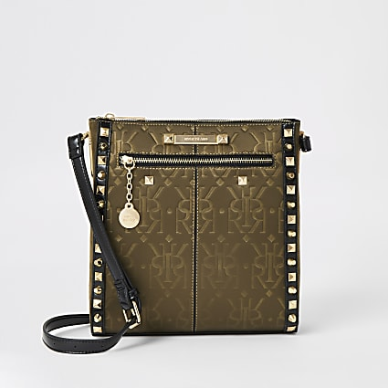 Khaki RI embossed studded messenger bag