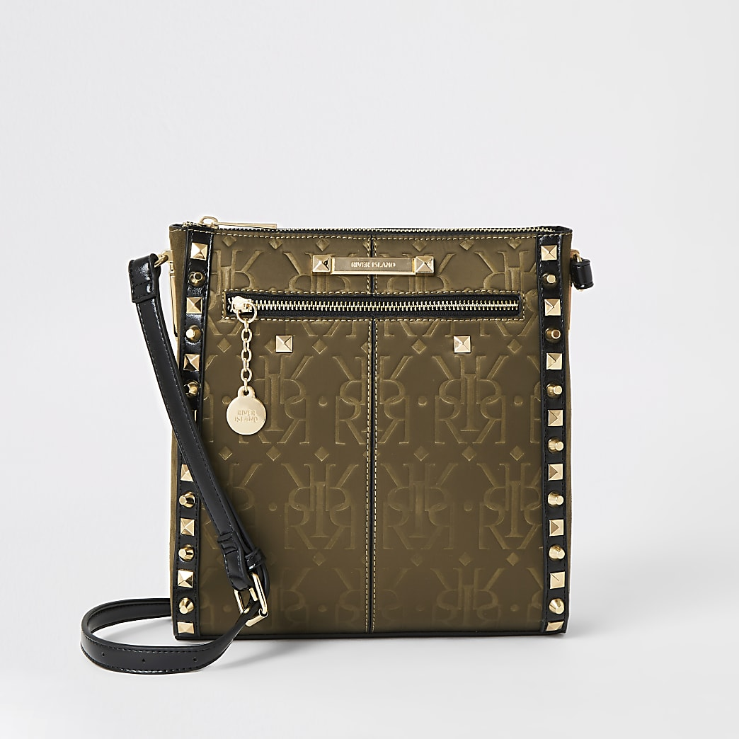 Khaki RI embossed studded messenger bag