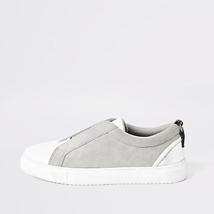 Grey RI elasticated strap trainers