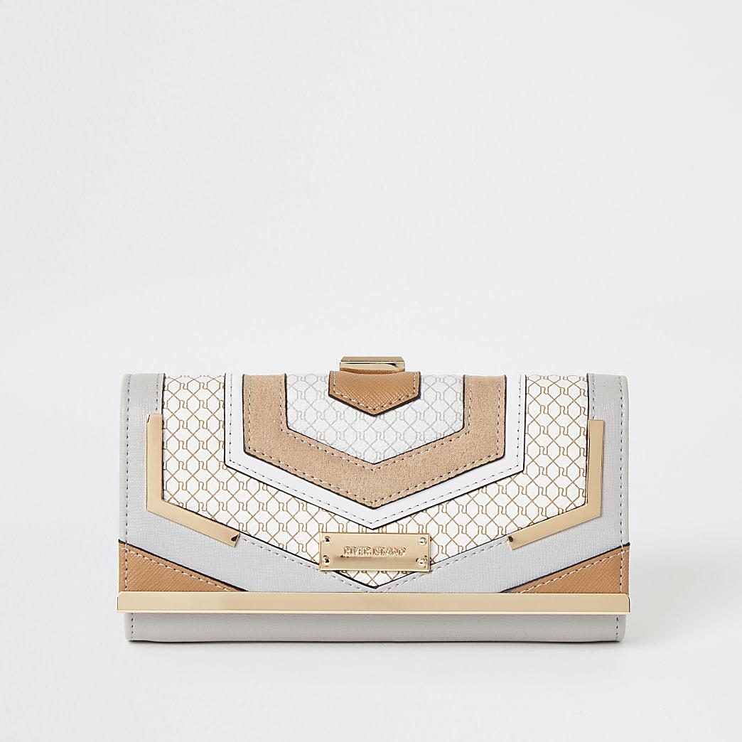 Grijze portemonnee met clipsluiting, RI-monogram en kleurvlakken