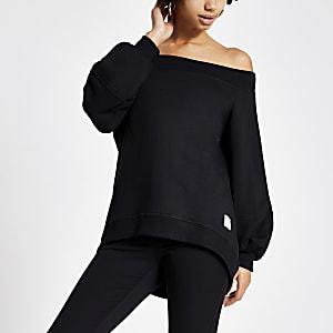 Langärmeliges Sweatshirt in Schwarz mit Bardot-Ausschnitt im Loose Fit