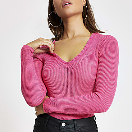 Pink frill V neck rib knitted jumper