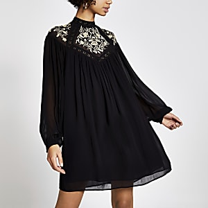 Black embroidered mini smock dress