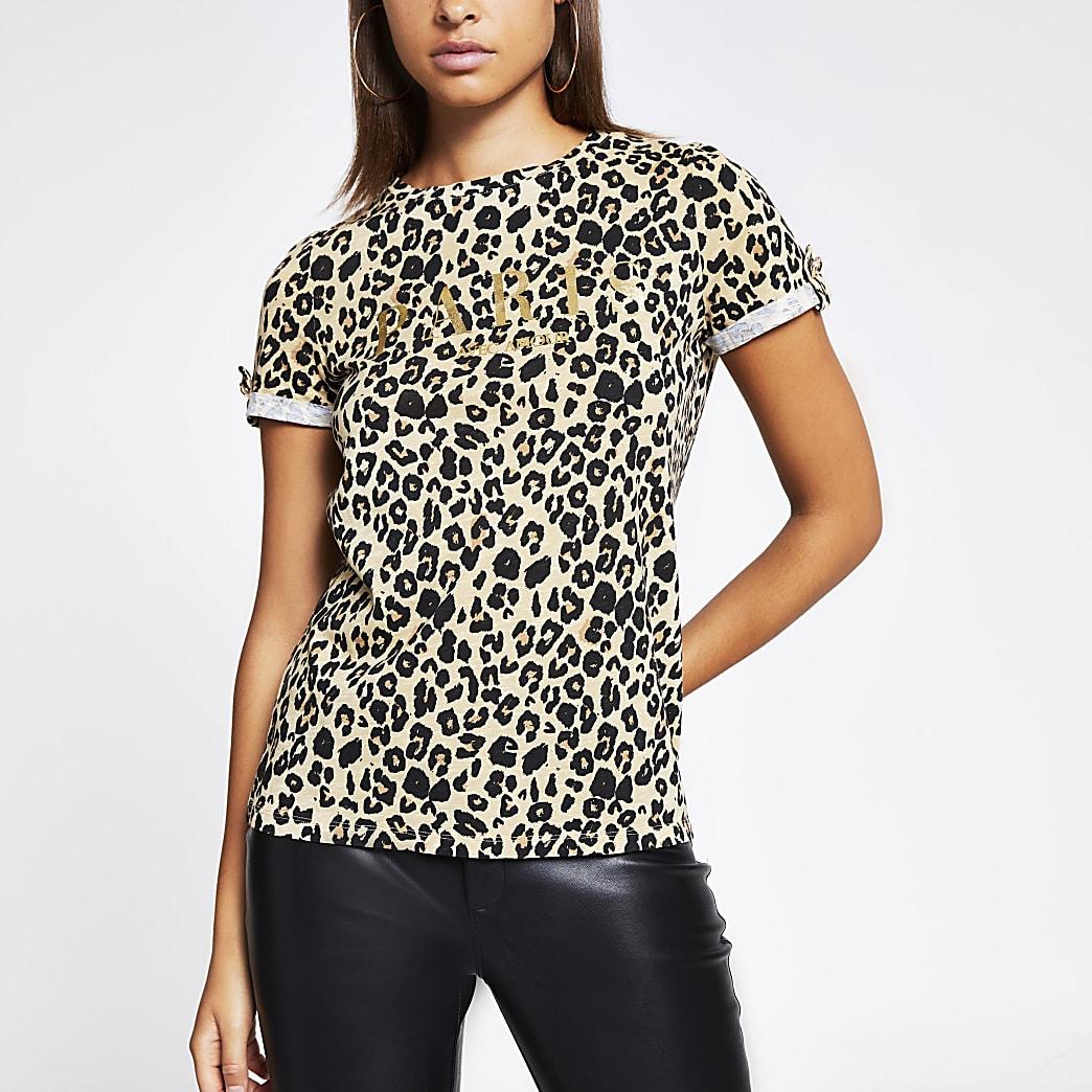 Beige T-shirt met luipaardprint en 'Paris'-tekst