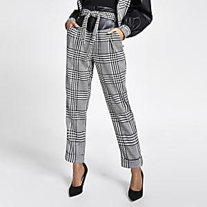 Pantalontaille haute noir à carreaux